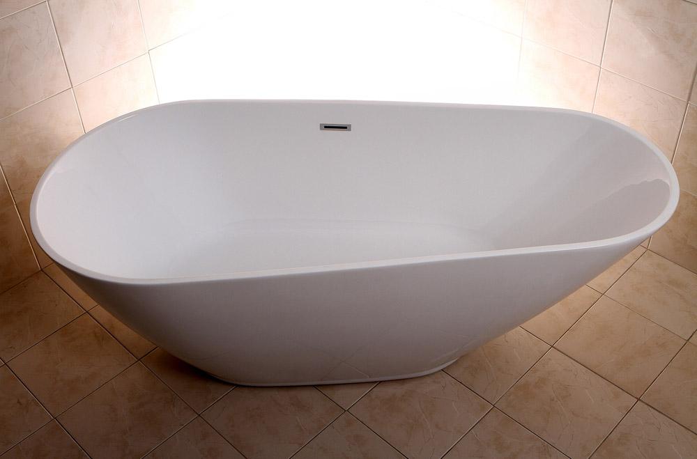 Modern white kalen freestanding single slipper bathtub for Non standard bathtubs
