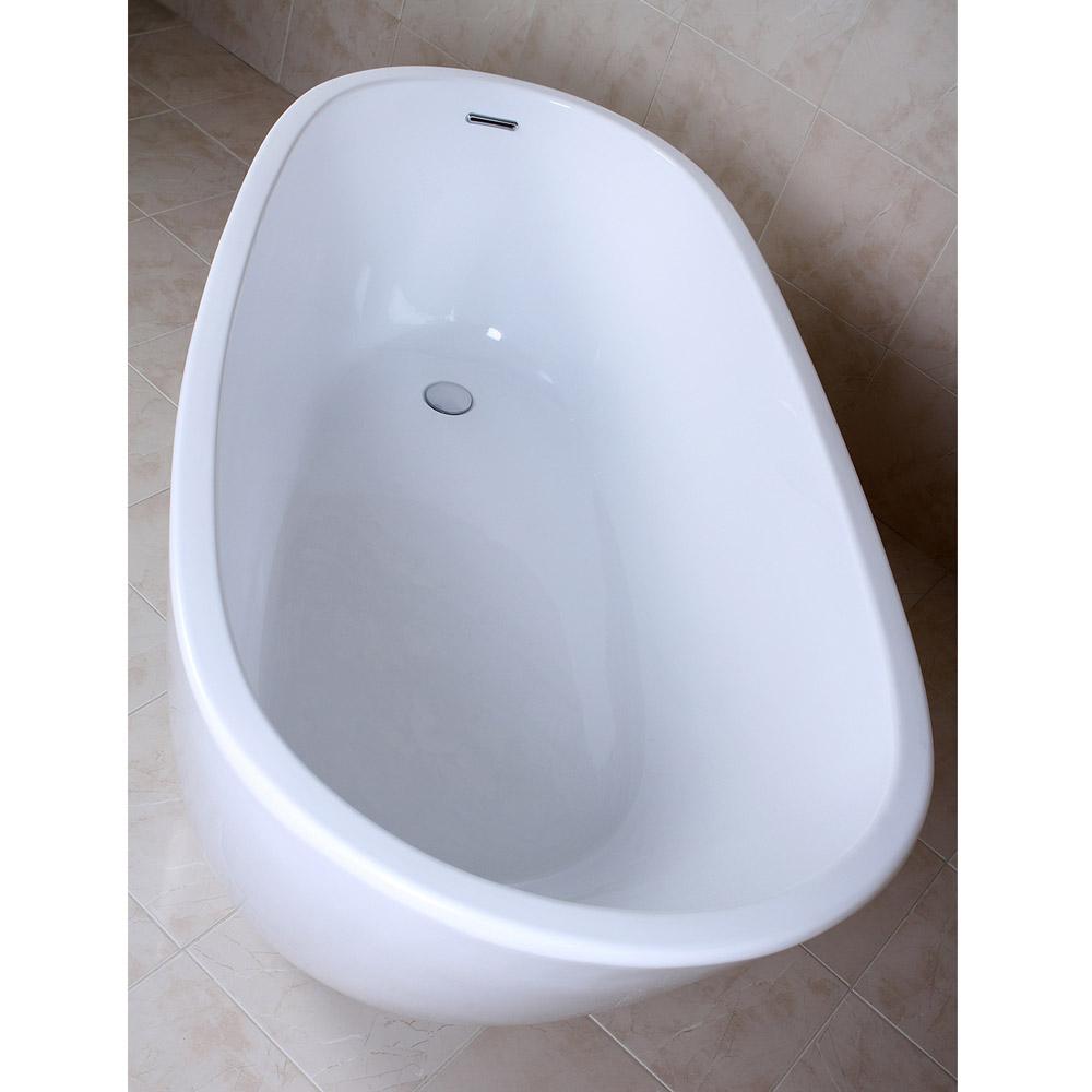 Modern White Kono Freestanding Single Slipper Bathtub   Zuri Furniture