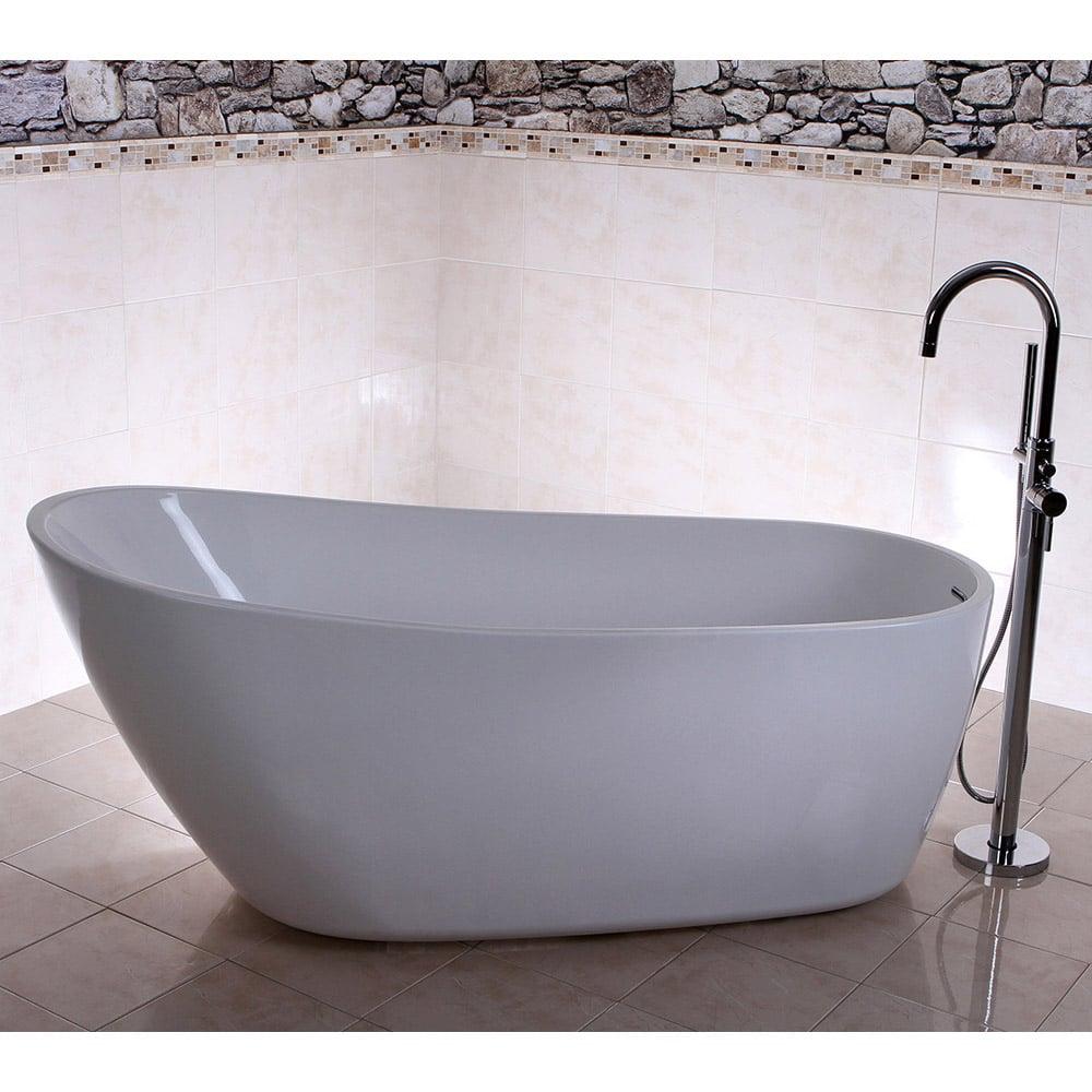 Modern White Kyne Freestanding Single Slipper Bathtub | Zuri Furniture
