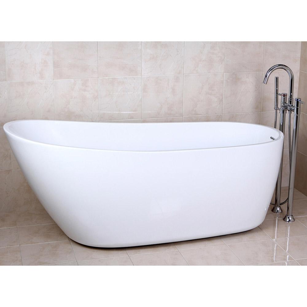 Modern white kyne freestanding single slipper bathtub for Non standard bathtubs