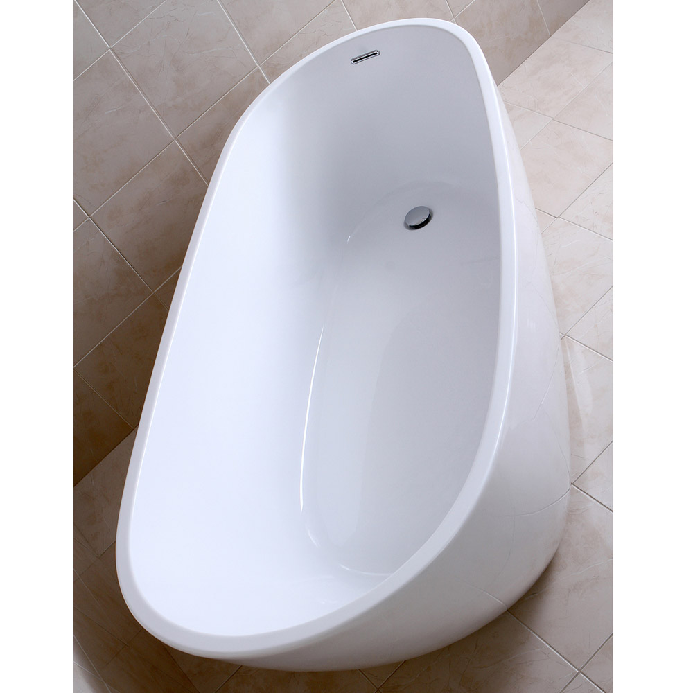 Modern White Kyne Freestanding Single Slipper Bathtub | Zuri Furniture