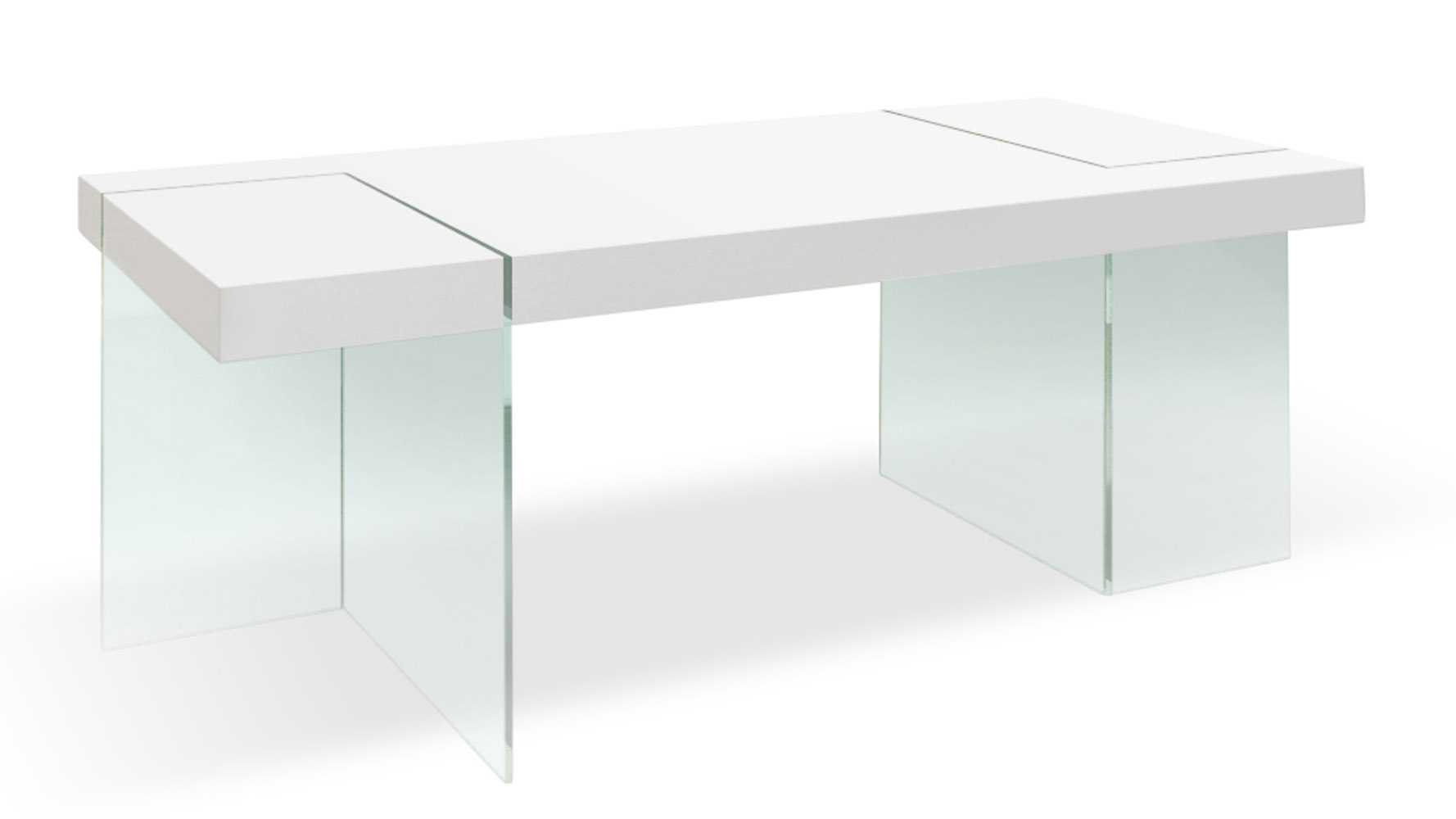 Modern white lacquer and tempered glass cerise dining for Tempered glass dining table