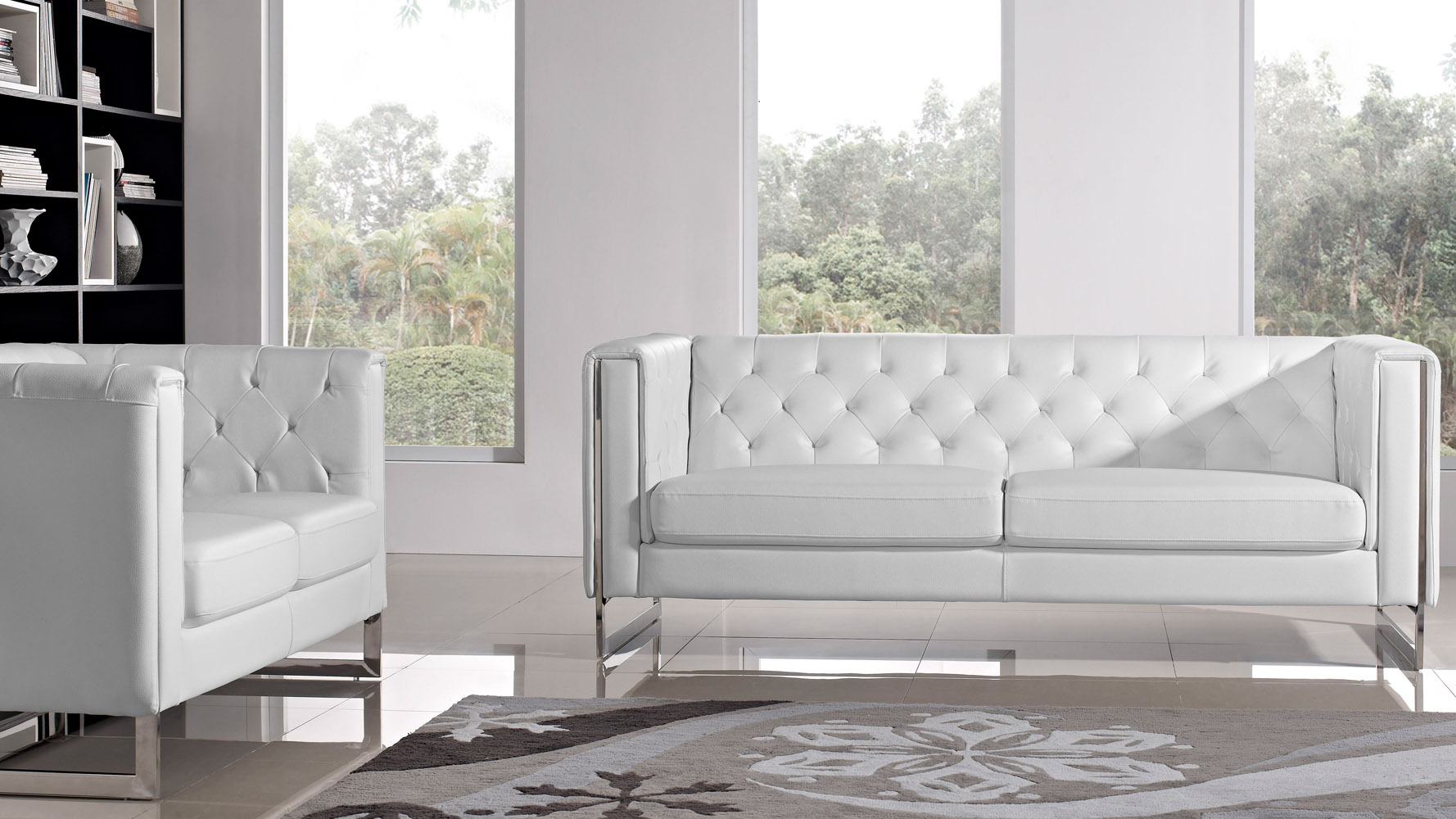 Modern White Leatherette 2 Piece Easton Sofa Set with Stainless ...