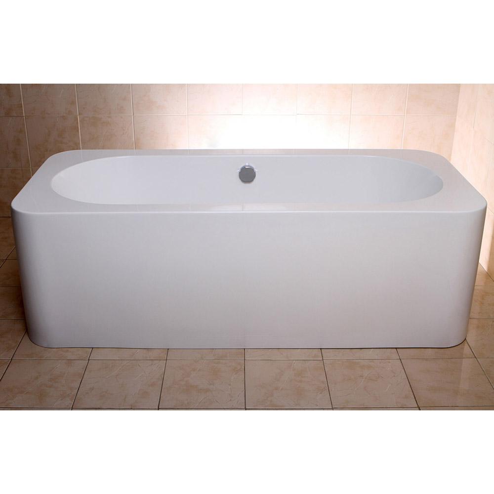 Modern white rectangular kiran drop in alcove bathtub for Non standard bathtubs