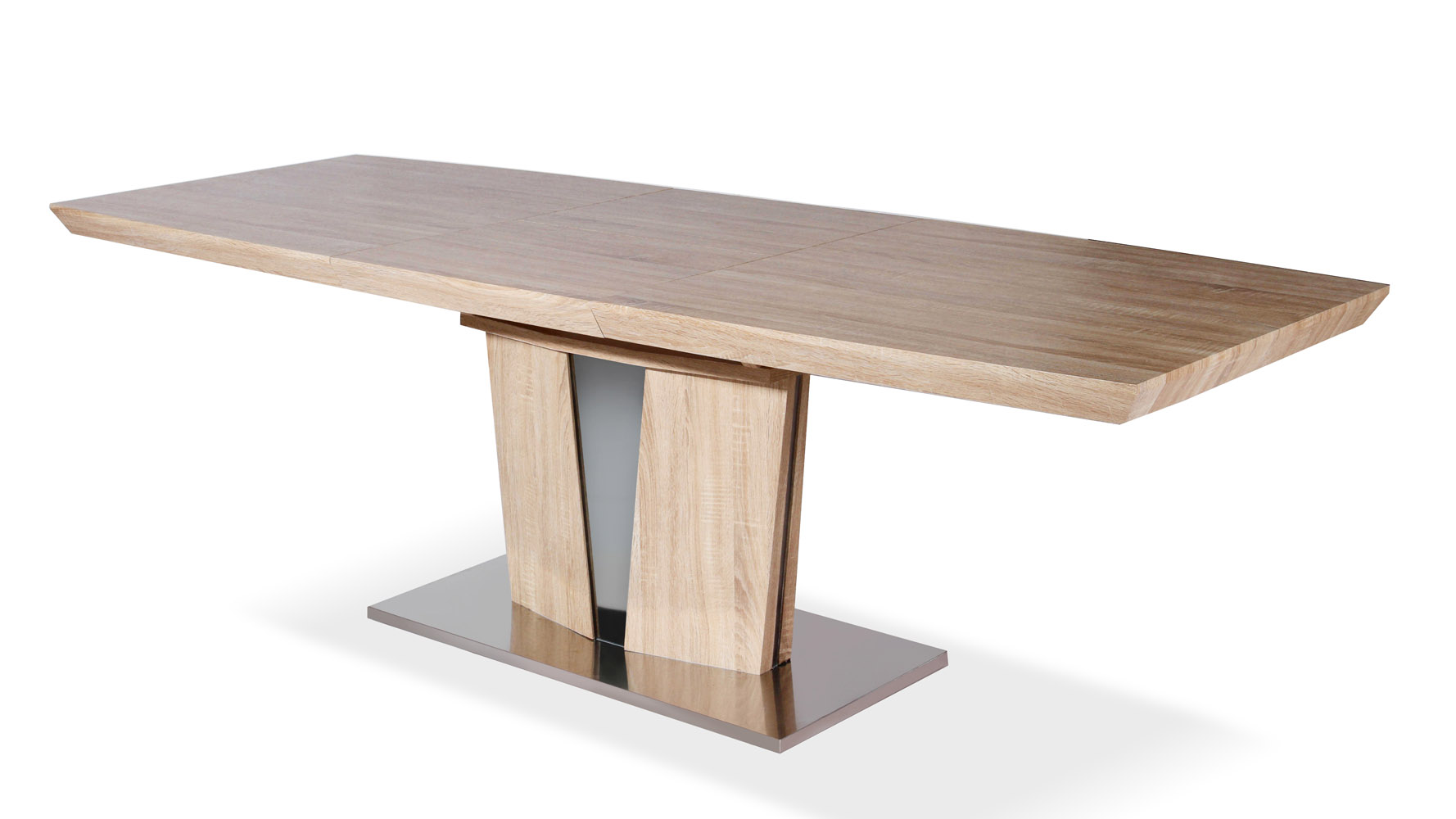 Modern Wood Veneer and Stainless Steel Base Brulee Dining Table