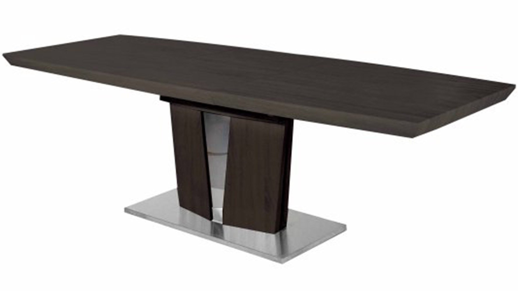 modern wood veneer and stainless steel base brulee dining table  - brulee dining table