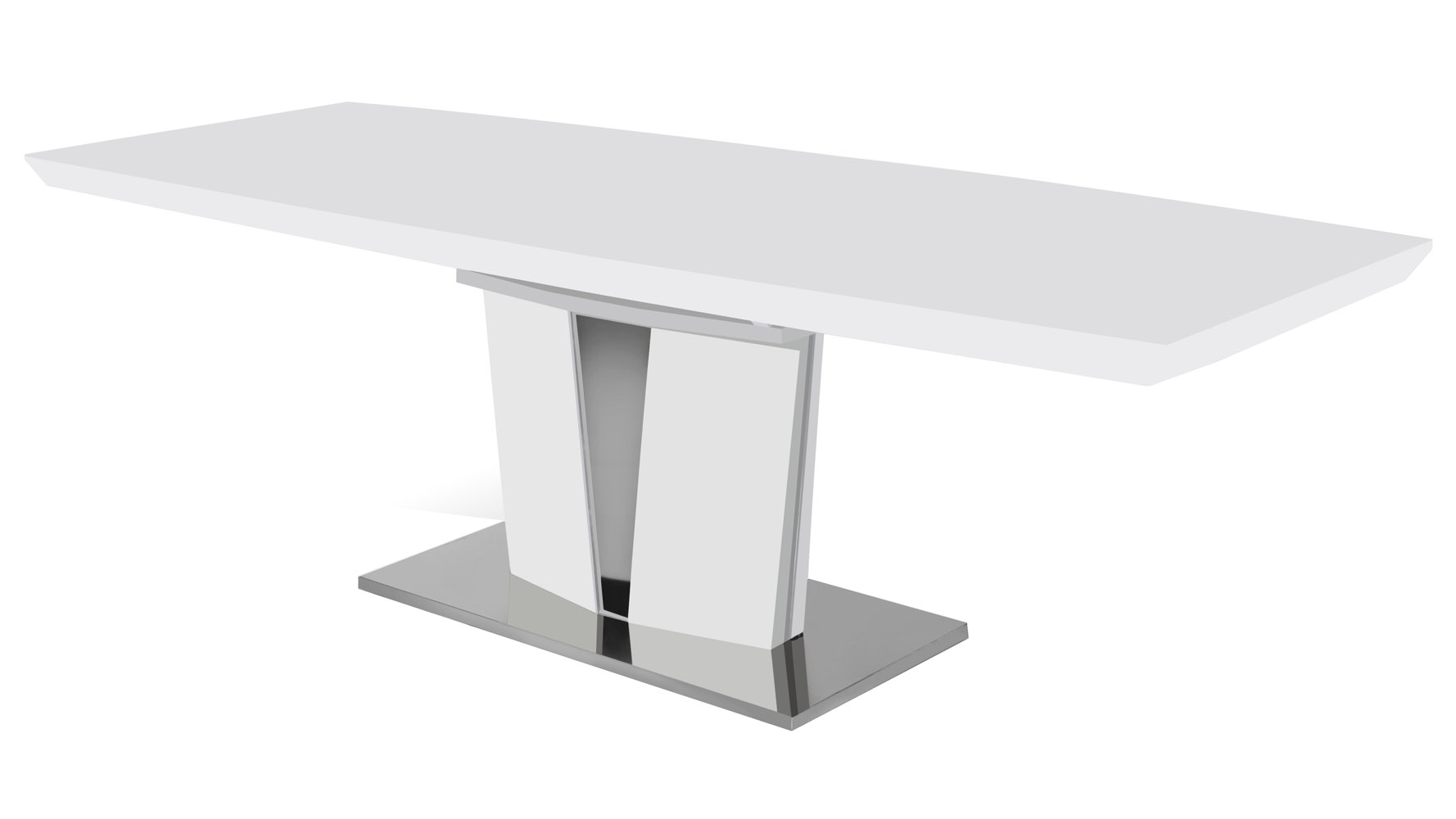Modern wood veneer and stainless steel base brulee dining for Stainless steel dining table