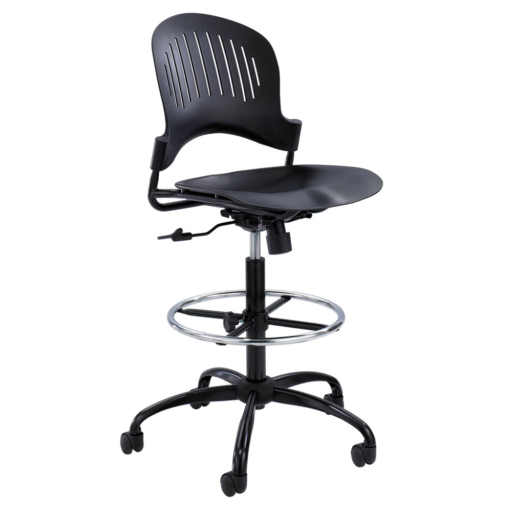 Modern Zippi Plastic Extended Height Chair Black Zuri
