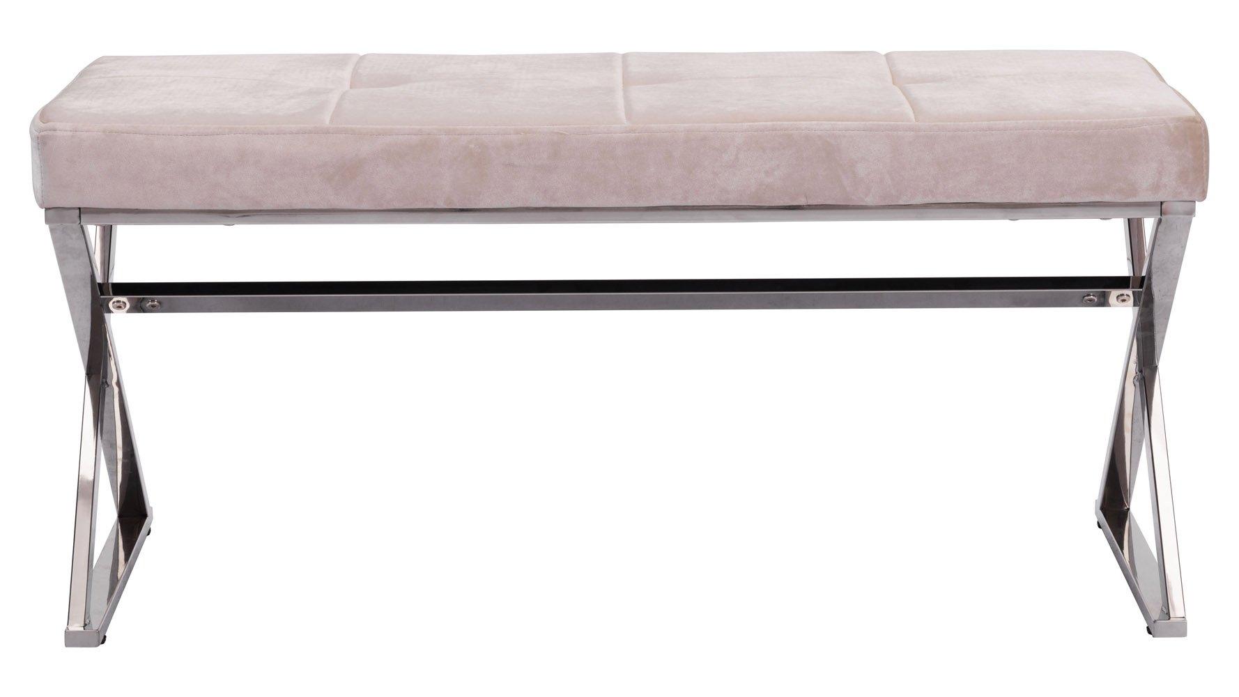 Modern Aaren Bench Beige Velvet Upholstery Zuri Furniture