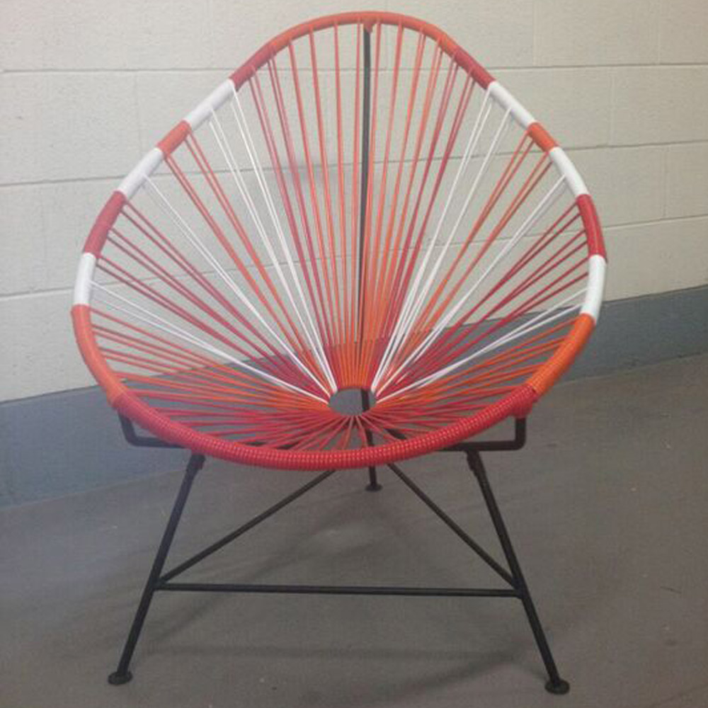 Modern Acapulco Chair With Cord Seat And Black Frame