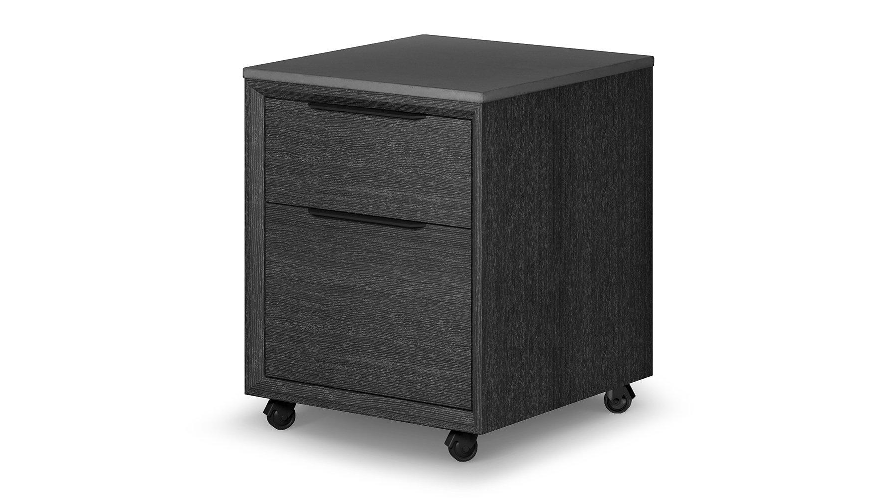 Modern Adal Mobile File Cabinet Concrete On Gray Oak