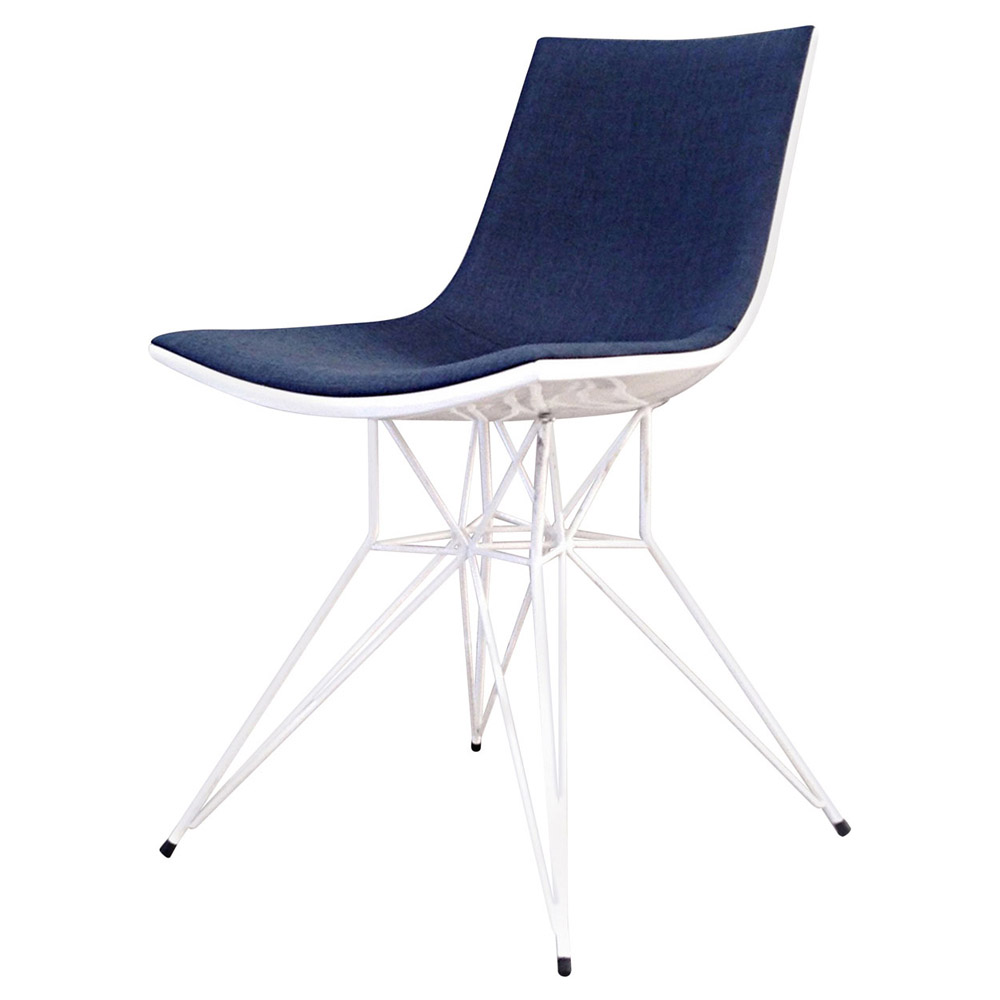 Modern adia dining chair blue denim on white lacquer for Blue and white dining chairs