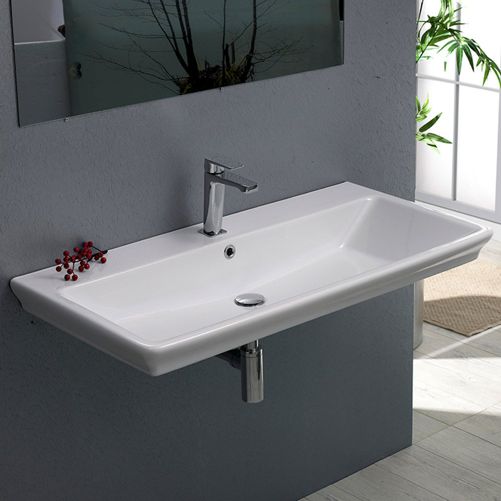 Arica Rectangle Ceramic 32 Quot Sink Zuri Furniture