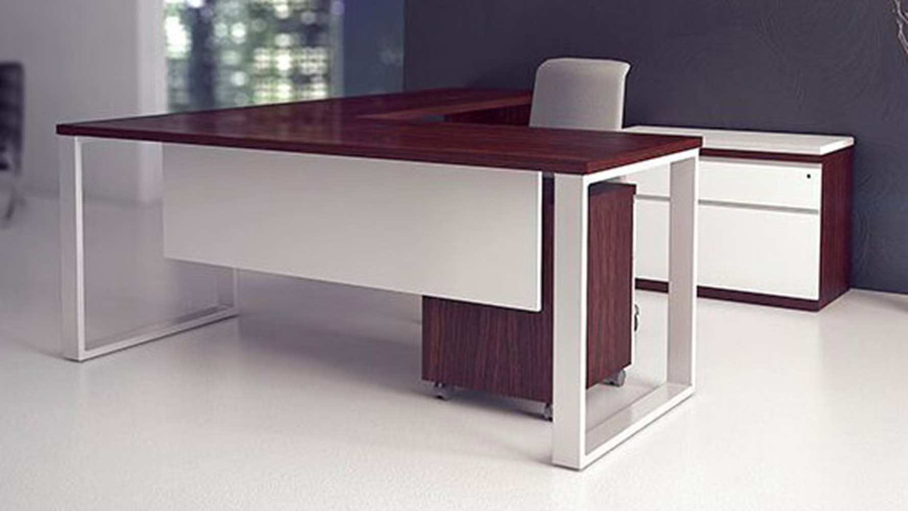 Modern Desk modern at two l-shaped desk + pedestal + credenza - biedermeier