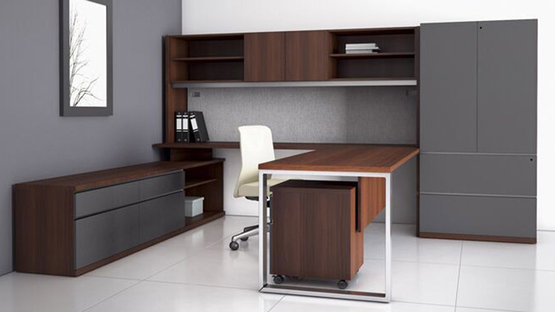 modern at two ushaped desk with overhead storage credenza storage closet natural walnut zuri furniture