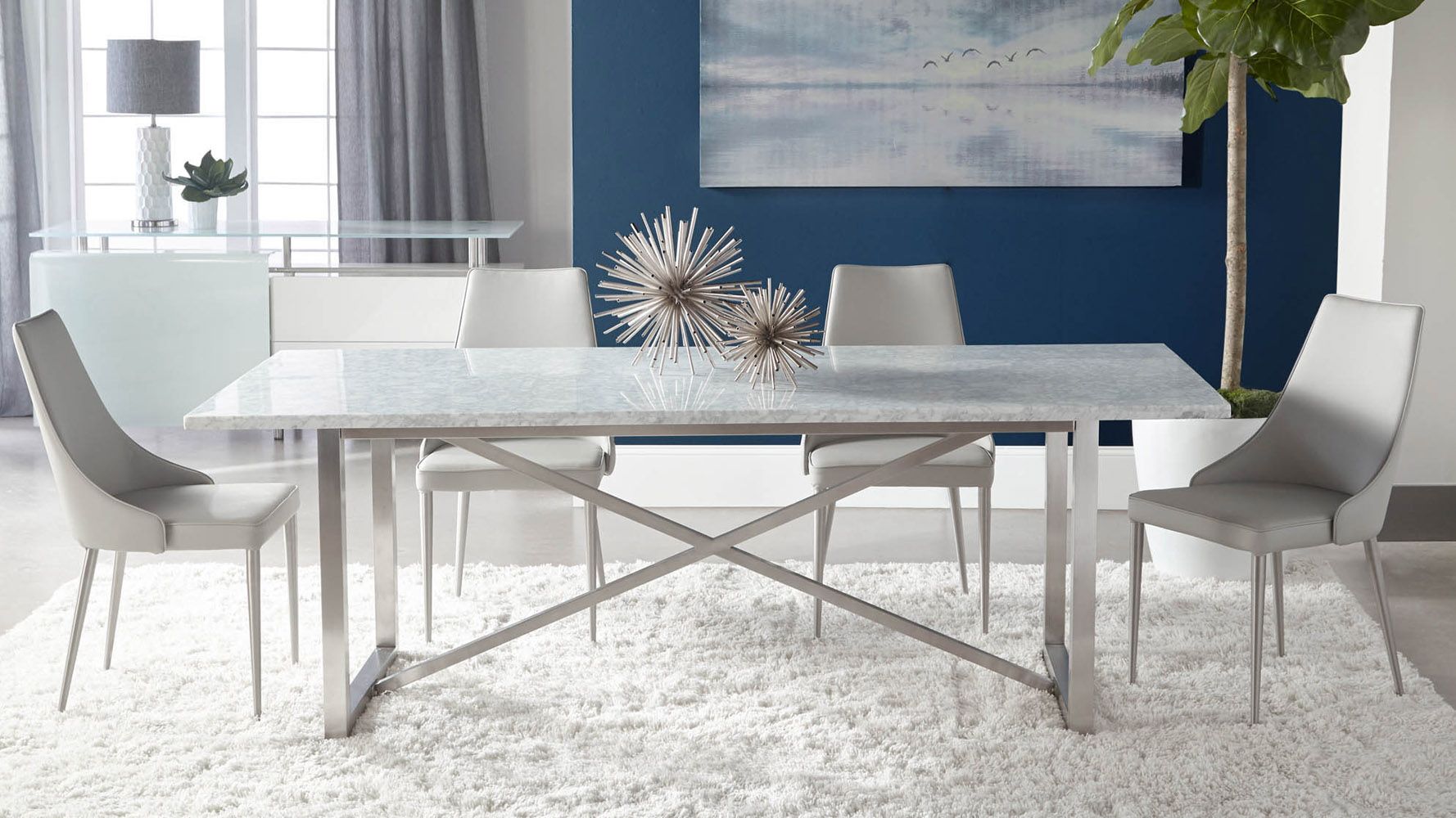Avenza White Marble Dining Table with Steel Base White
