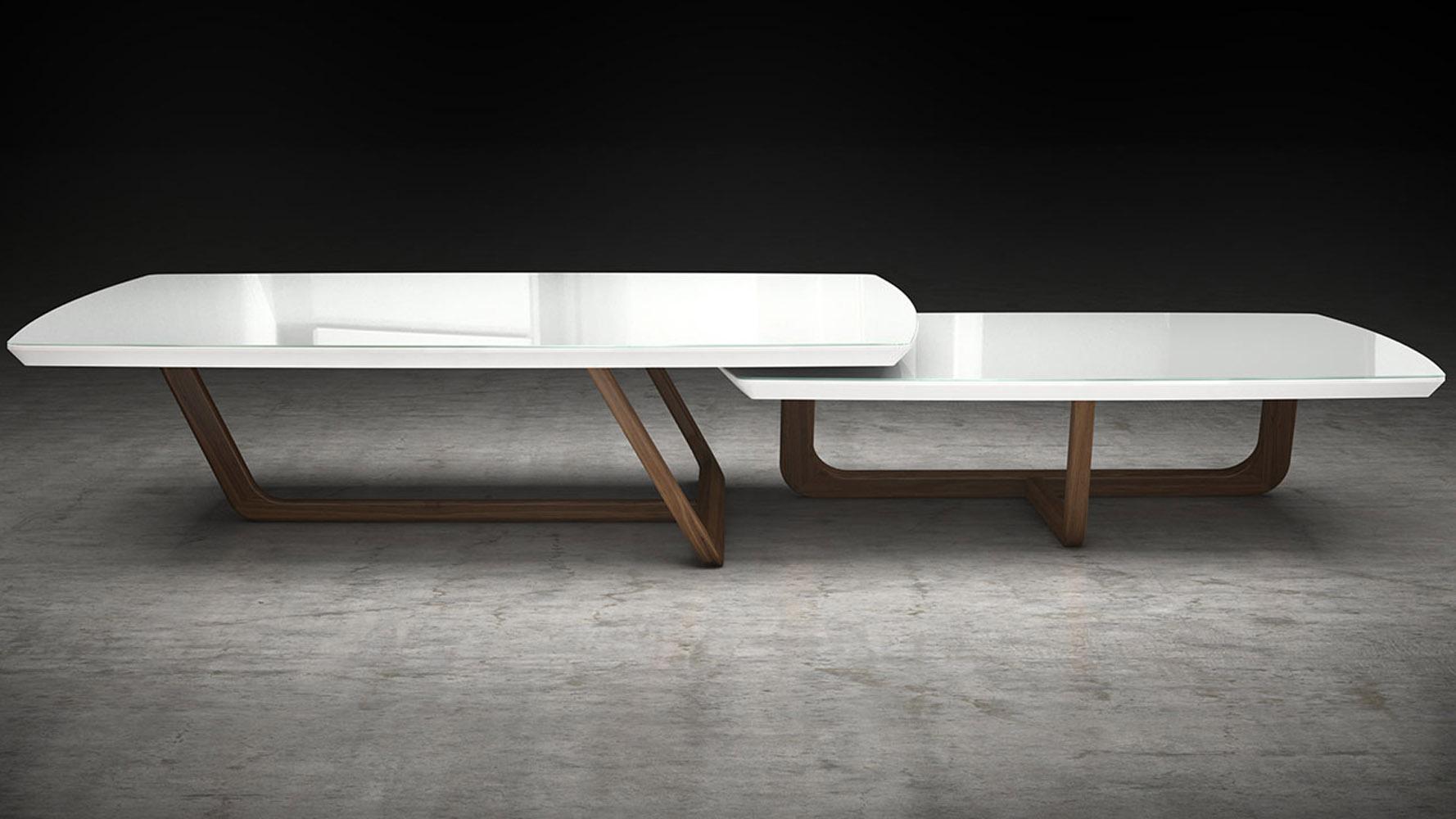 modern bane coffee table white glass on walnut