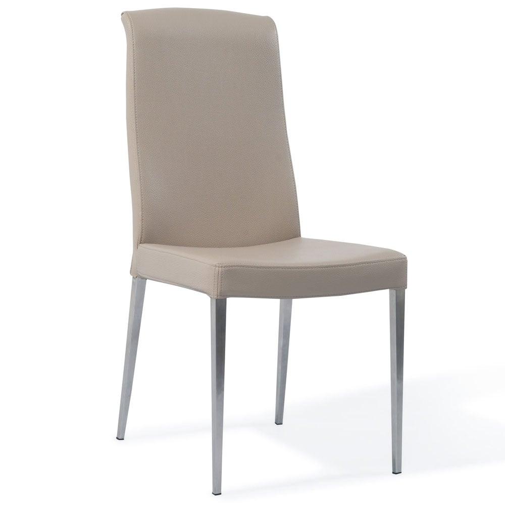 modern beige leatherette upholstered sawyer dining chair | zuri
