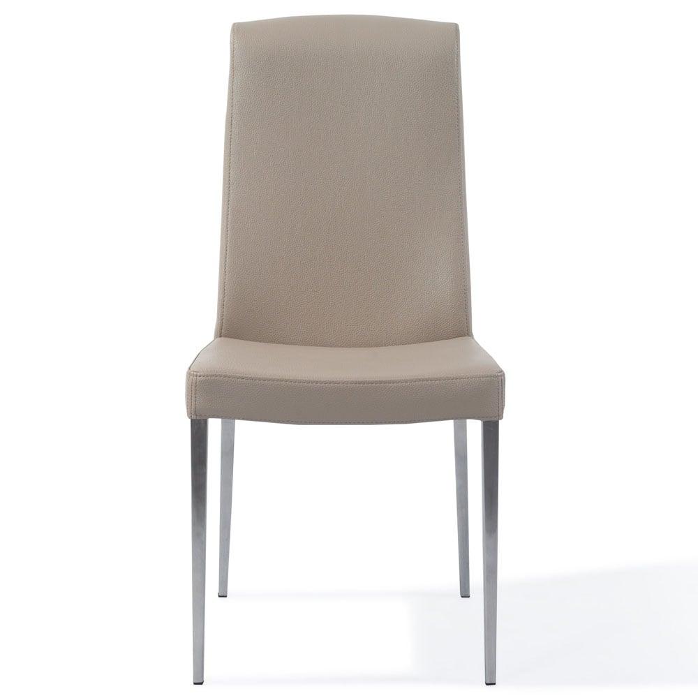 Modern beige leatherette upholstered sawyer dining chair for Modern upholstered dining chairs