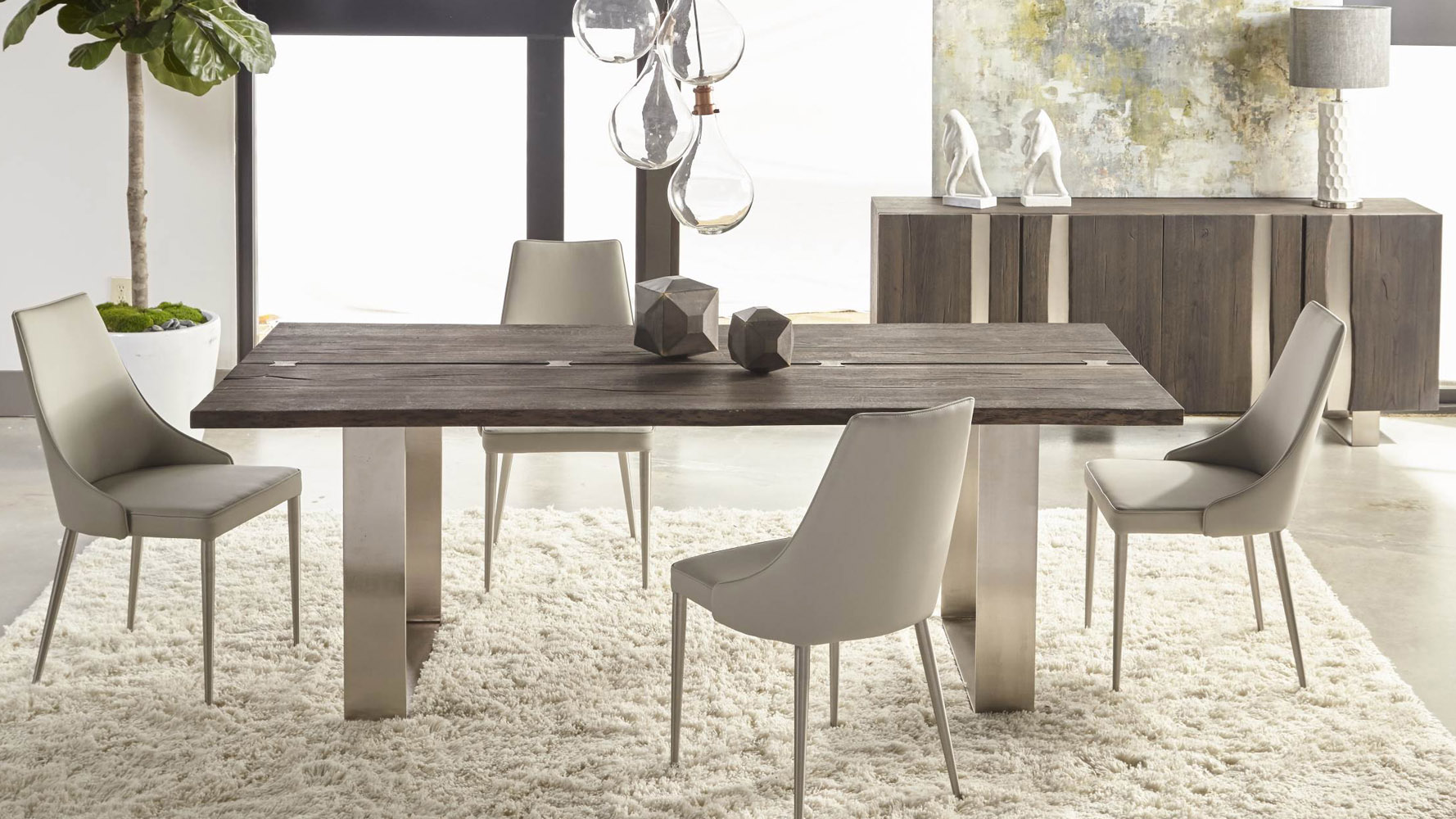 blaize rectangular oak dining table with nickel base, brushed Charcoal Dining Table