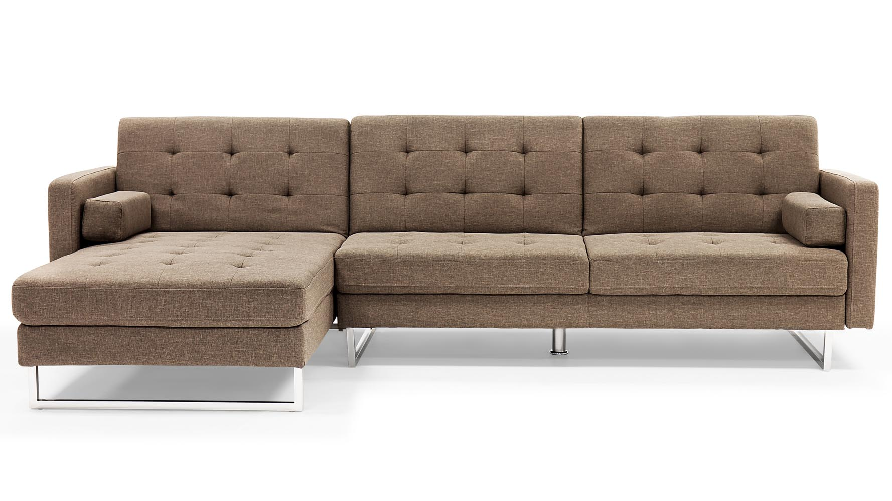 Quinn modern brown fabric upholstered sleeper sectional for Brown fabric couch