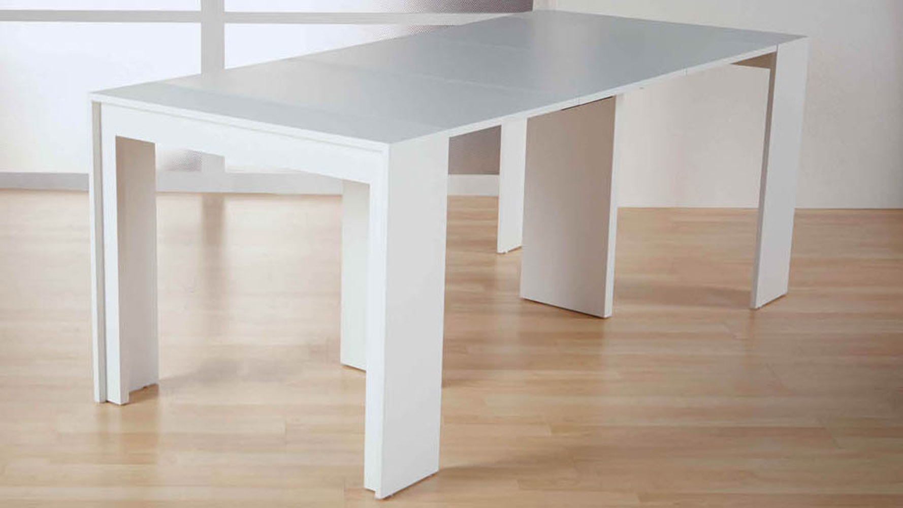 Modern chancellor extension dining table matte white textured lacquer zuri furniture