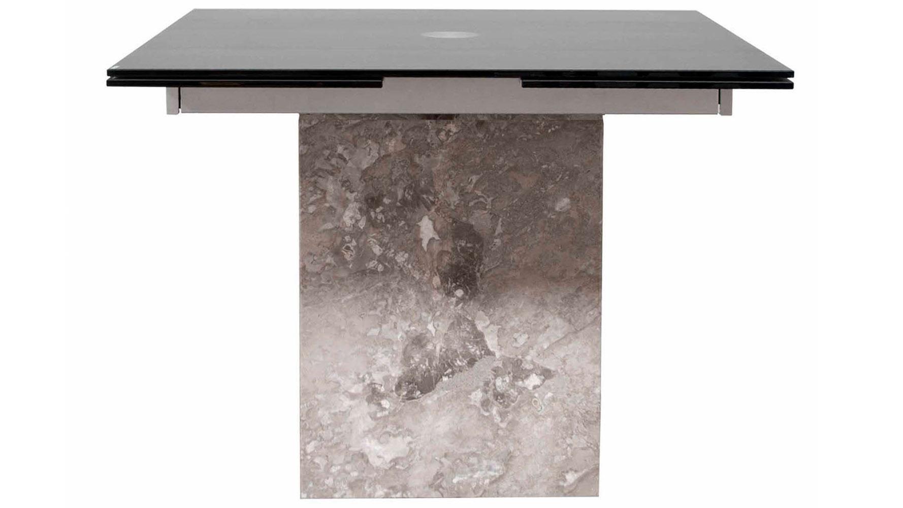 Amazing Modern Citadel Extension Dining Table Grey Marble Base 12mm Acid Etched  Matte Black Glass Top   Zuri Furniture
