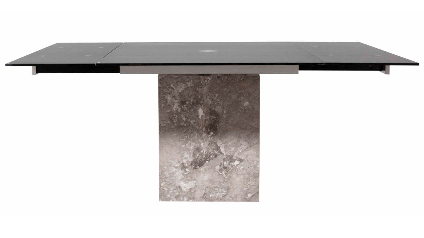 Modern Citadel Extension Dining Table Grey Marble Base 12mm Acid Etched Matte Black Glass Top
