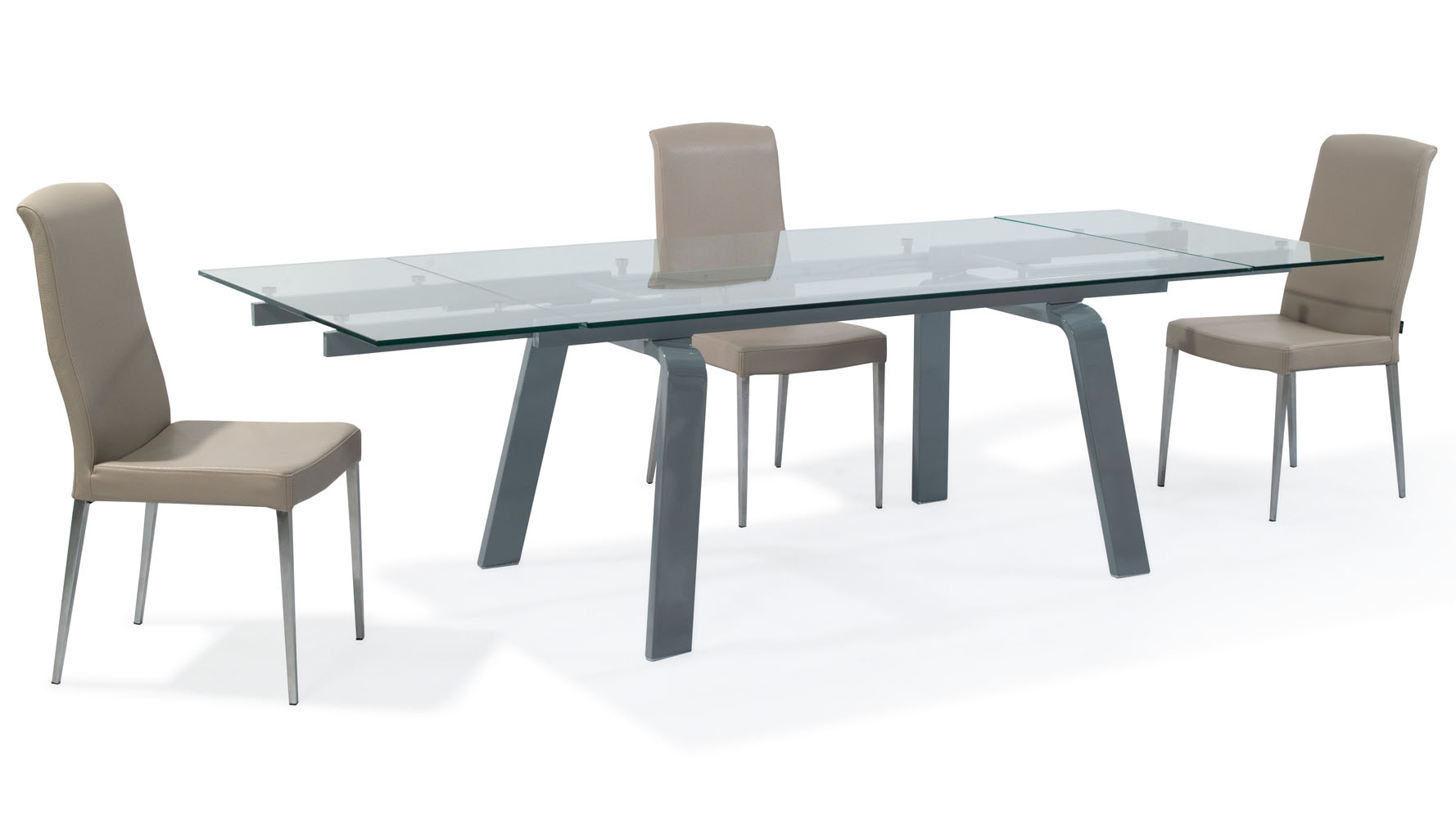 Modern Clear Glass And Metal Extendable Malone Dining Table Zuri Furniture