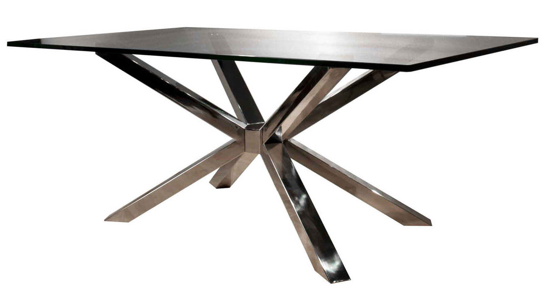 Modern Cointet Rectangle Dining Table Base Stainless Steel Zuri Furniture