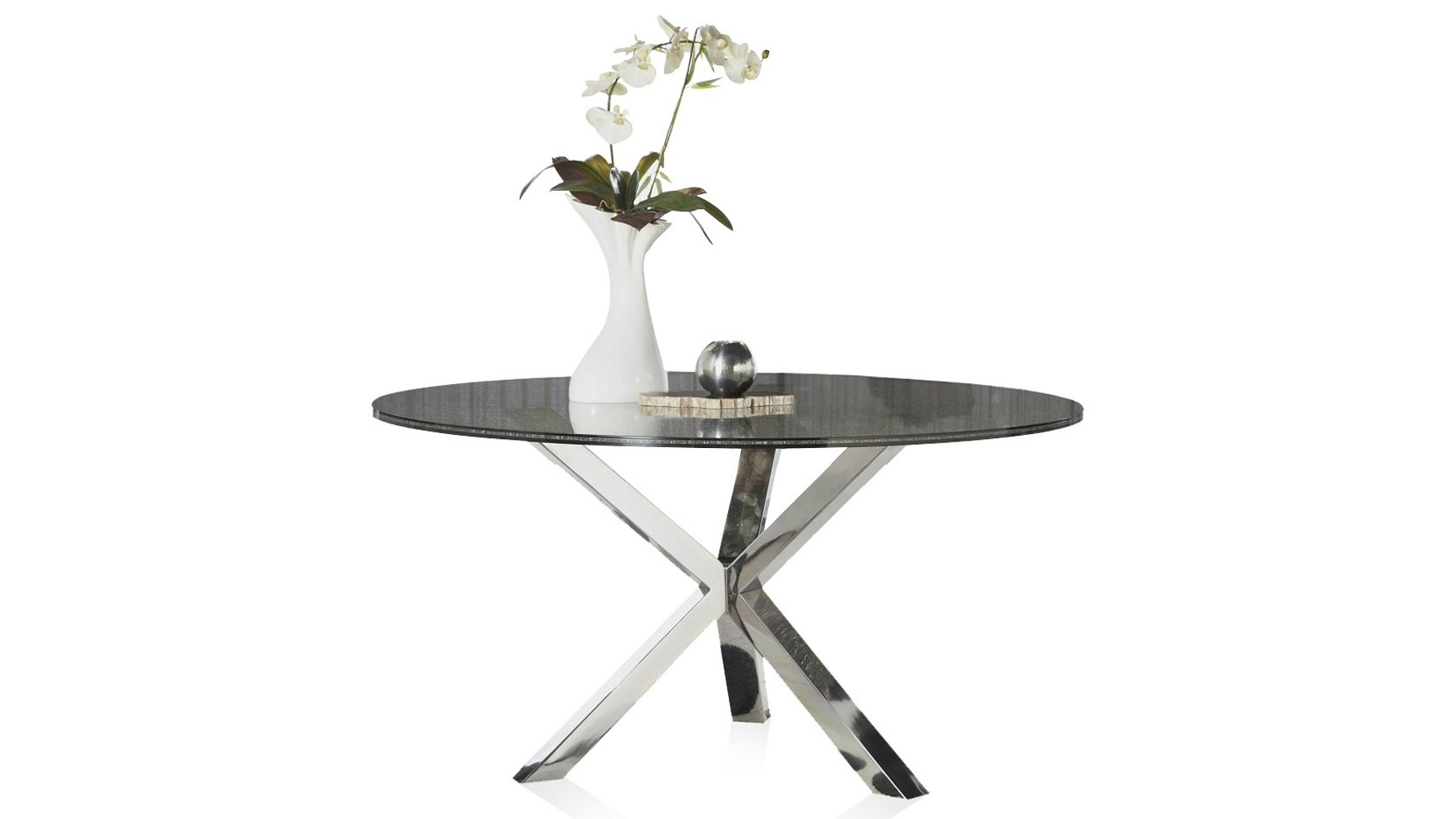 Cointet 60 Inch Round Dining Table - Crackle Glass   Zuri ...
