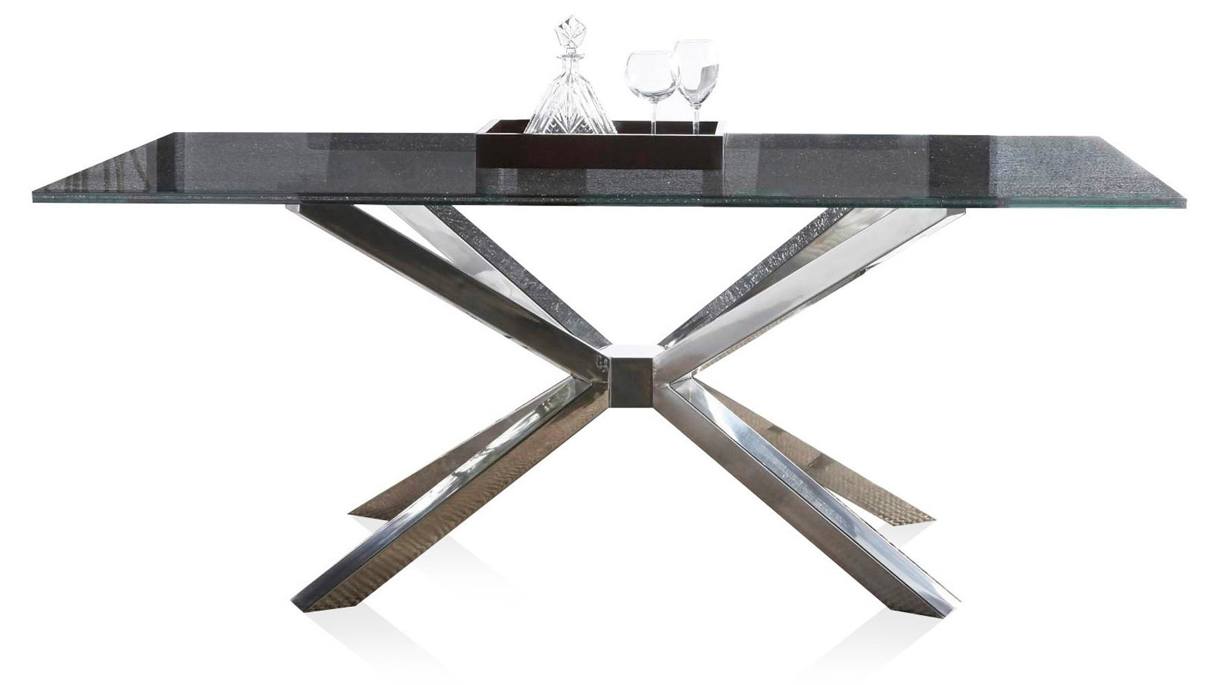Cointet 75 Inch Dining Table   Crackle Glass