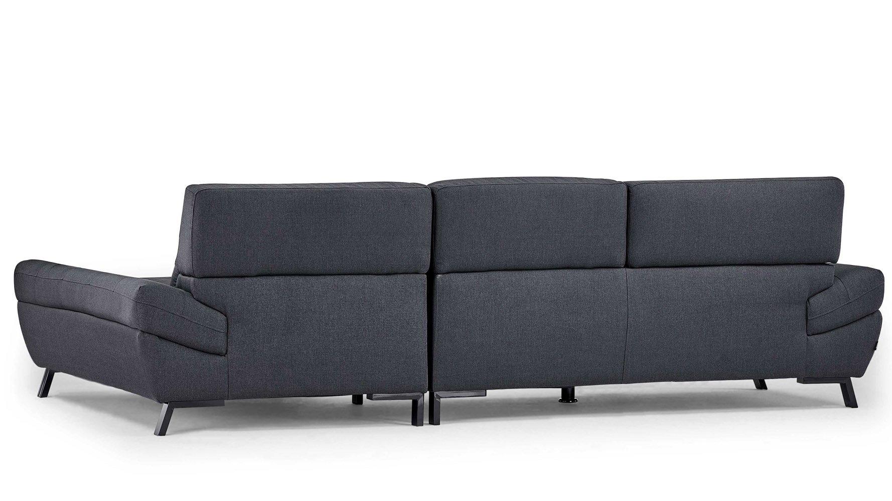 Dark Grey Fabric Tufted Rider Sectional Zuri Furniture