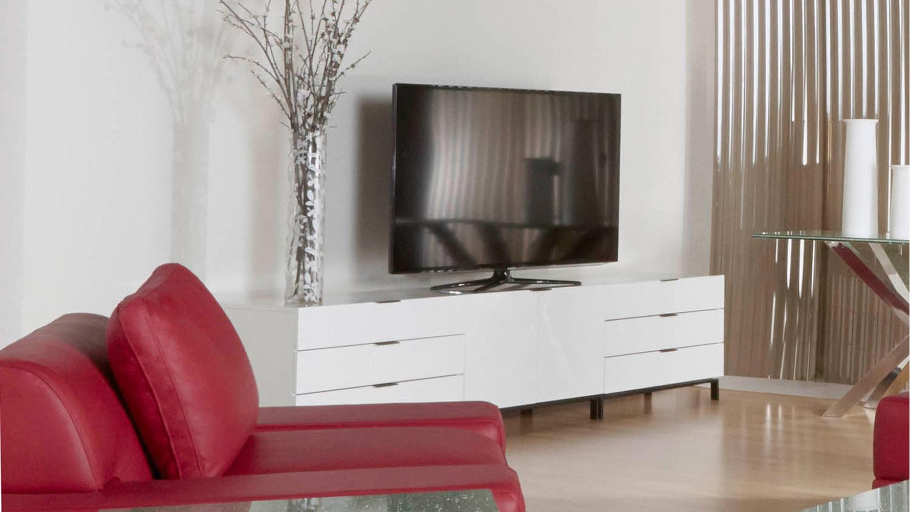 Modern Deacon 3 Drawer Modular TV Cabinet White High Gloss Acrylic Lacquer  W/ Matte Black Hardware | Zuri Furniture