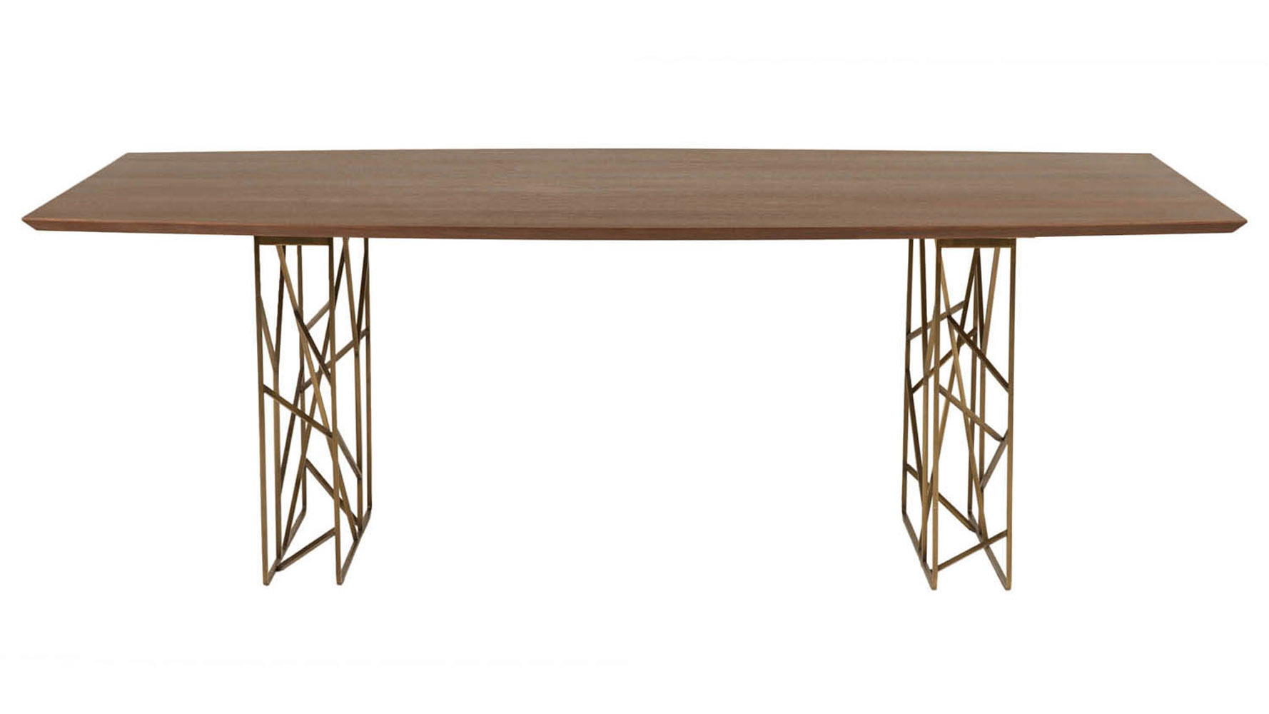 Modern decca dining table dark walnut antique gold legs for Large dark wood dining table