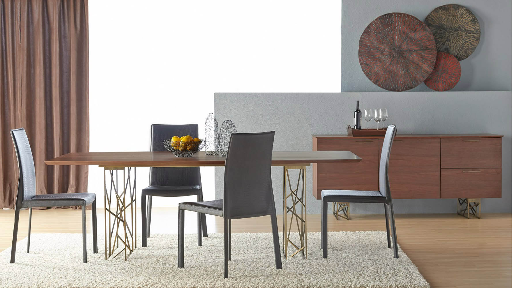Exceptional Dining Table With Gold Legs Part - 7: Modern Decca Dining Table Dark Walnut Antique Gold Legs | Zuri Furniture