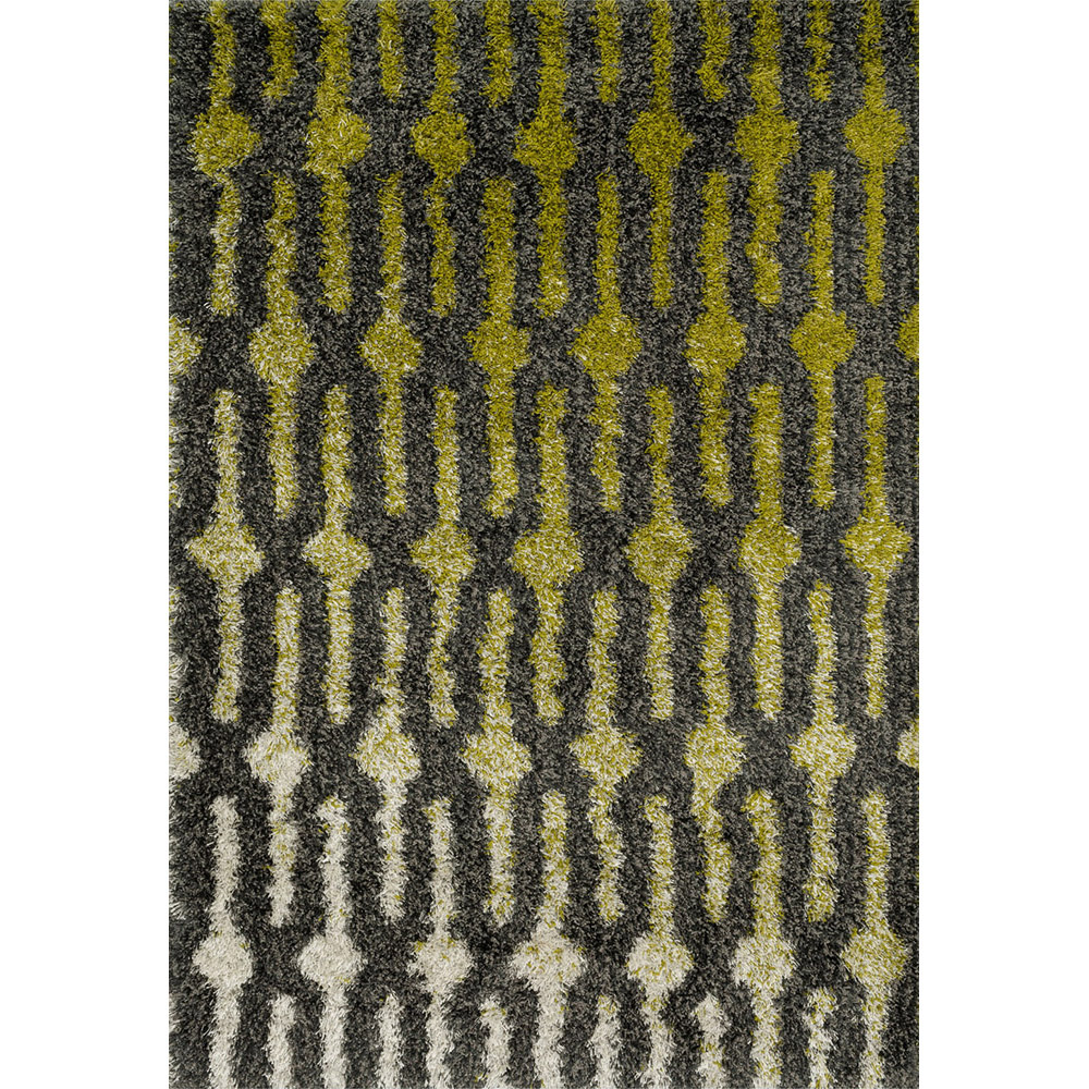 Diagon Green and Grey Shag Rug