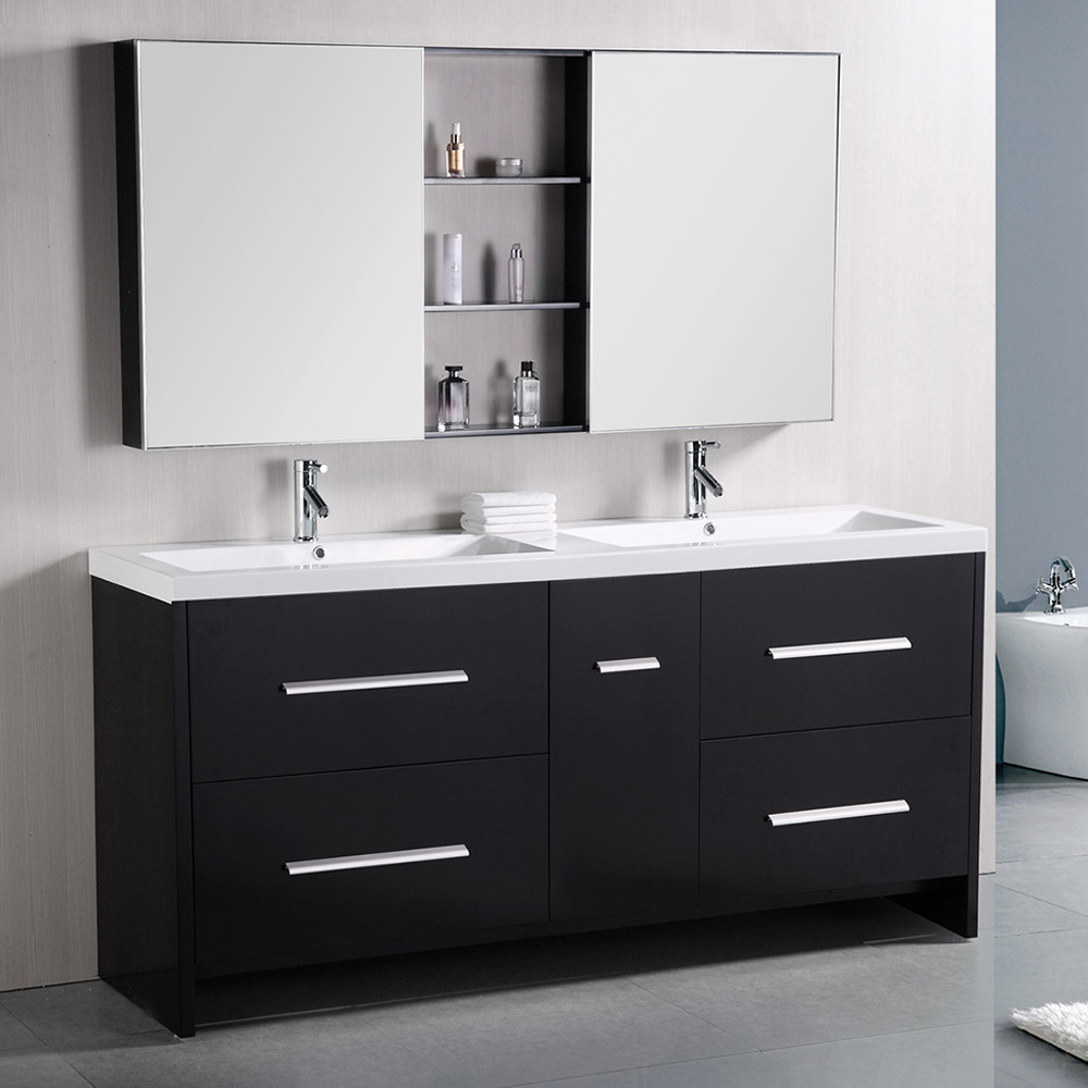 Donovan 72 double sink vanity set zuri furniture - Contemporary double sink bathroom vanity ...