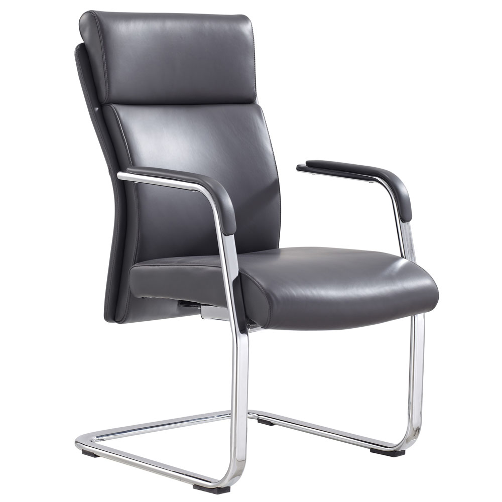 modern draper leather and chrome side chair with aluminum base dark grey zuri furniture. Black Bedroom Furniture Sets. Home Design Ideas