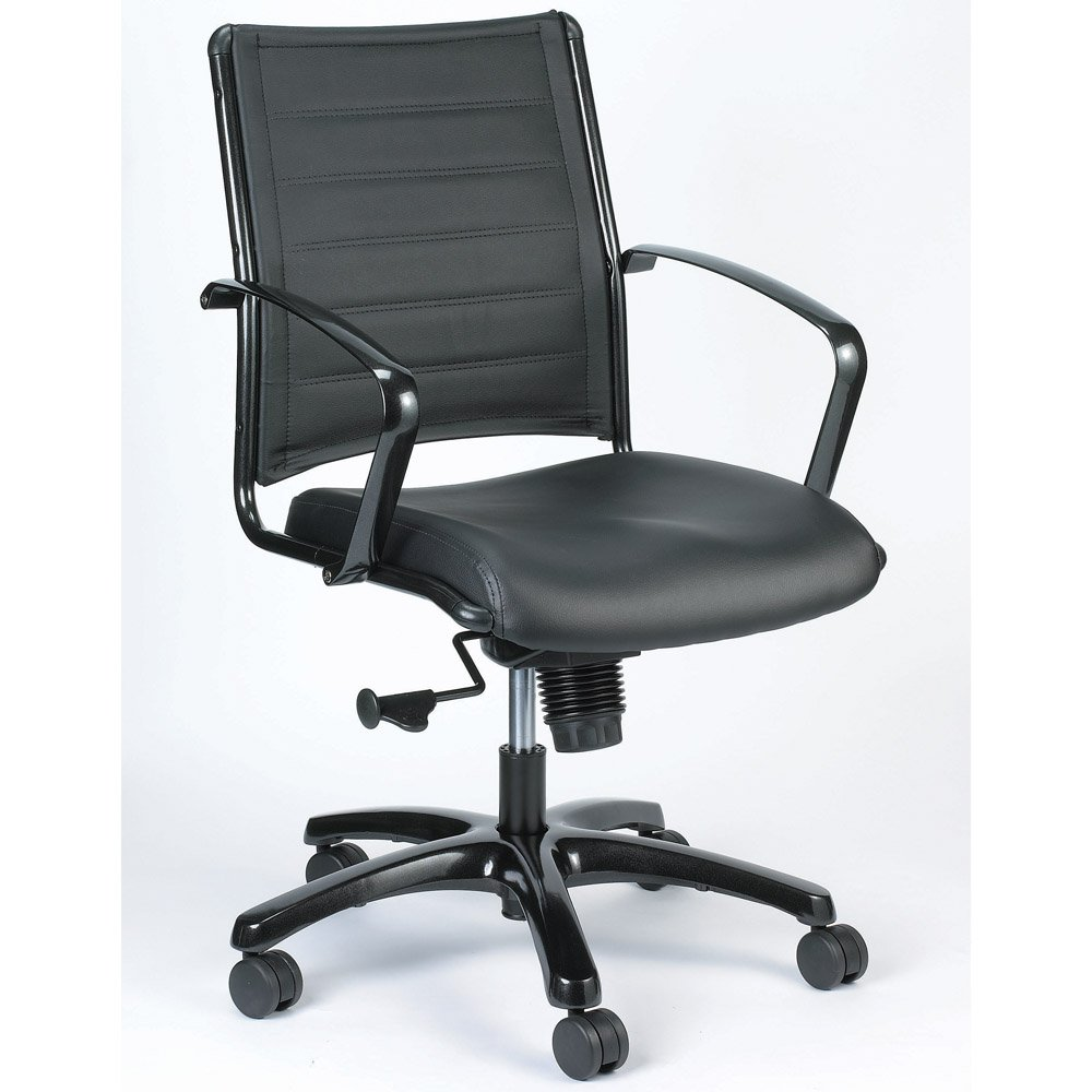 Modern Europa Metallic Leather Swivel Chair Black Leather