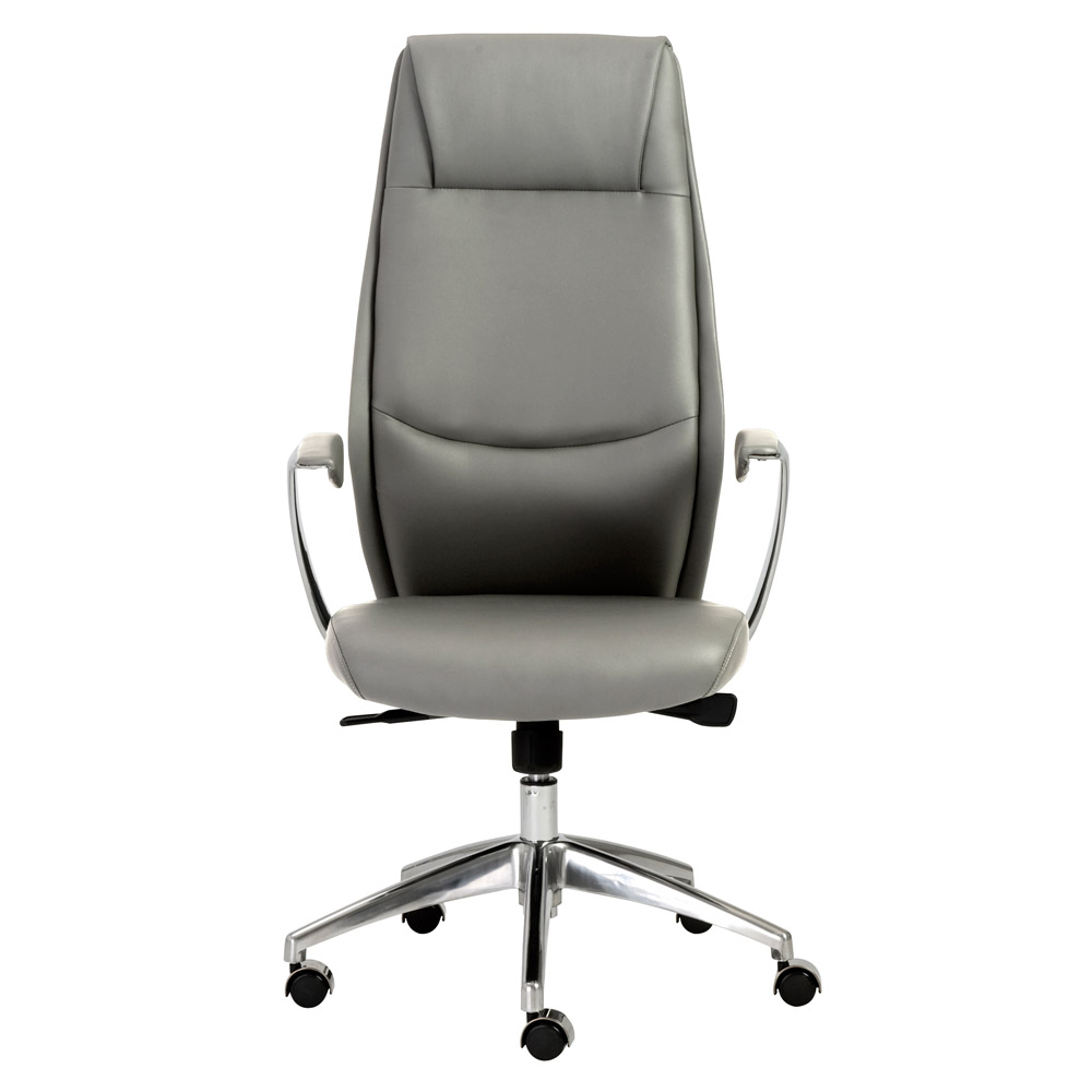 Francis High Back Office ChairFrancis High Back Leatherette Office Chair with Polished Aluminum  . Silver Office Chair. Home Design Ideas