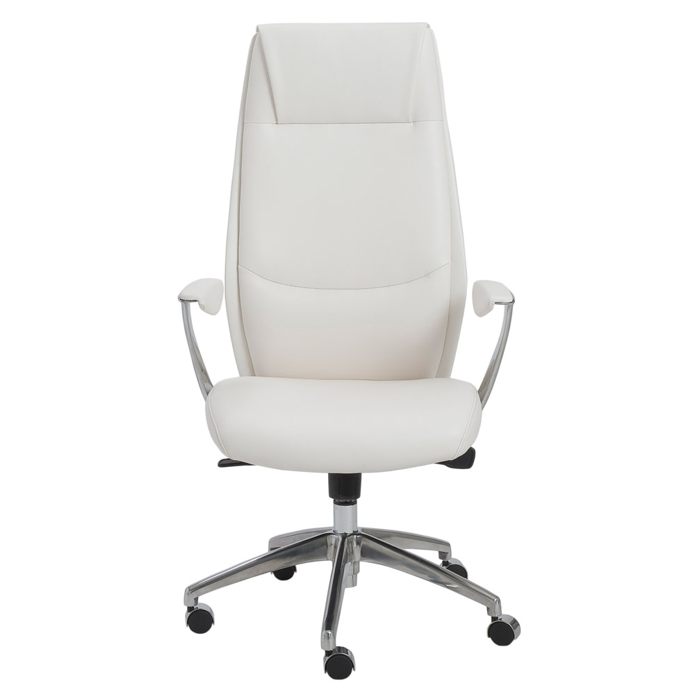 francis high back leatherette office chair with polished aluminum