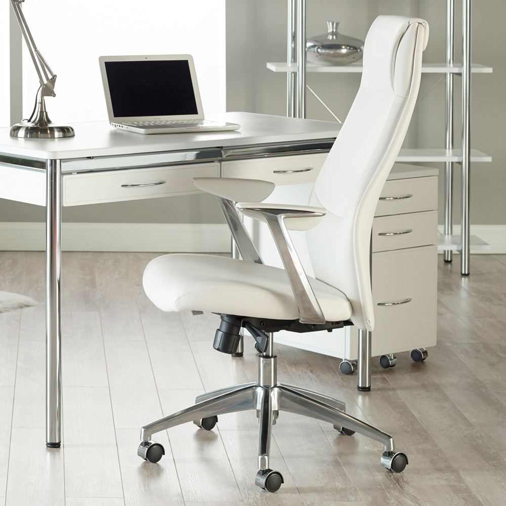 next & Francis High Back Leatherette Office Chair with Polished Aluminum ...