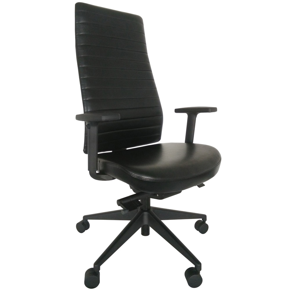 Frasso Leather High Back Swivel Chair With Adjustable Arms