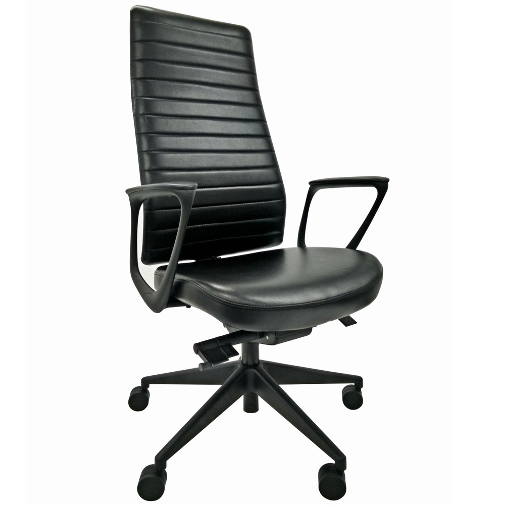 Frasso Leather High Back Swivel Chair with Loop Arms