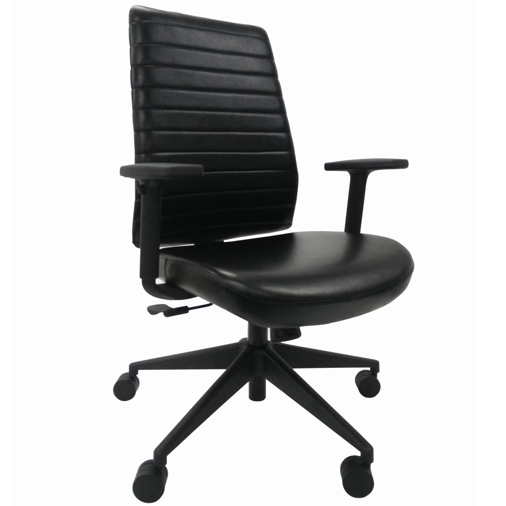 Modern Frasso Leather Swivel Chair With Adjustable Arms