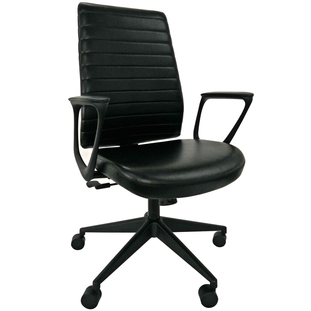 Modern frasso leather swivel chair with loop arms black for Swivel chairs for office