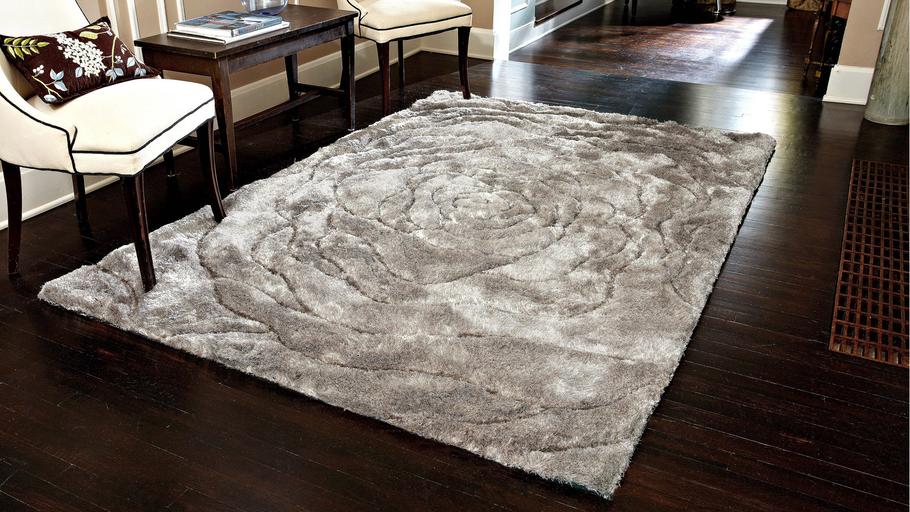 comfortable ivory mosaic shag rug indoor found