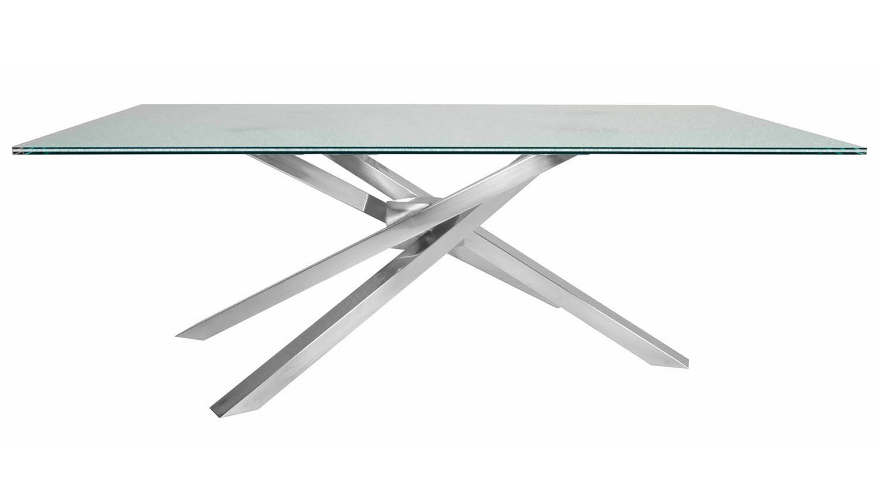 Modern Garrison Rectangle Dining Table Base Stainless Steel Zuri Furniture