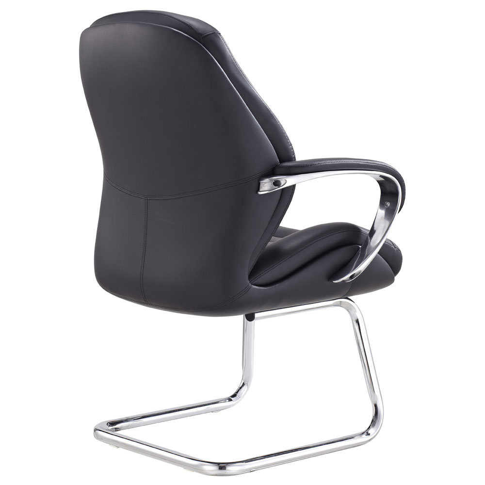 gates leather and chrome side chair with aluminum base zuri furniture. Black Bedroom Furniture Sets. Home Design Ideas